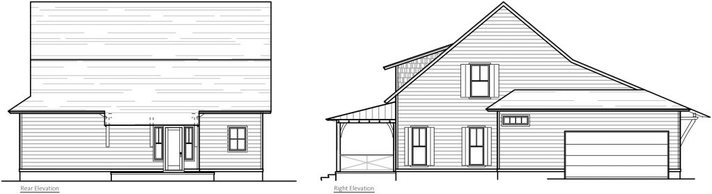 Cottages Rear & Right Elevation