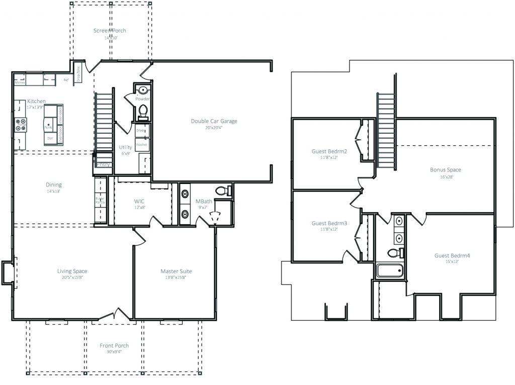 Cottages Alt.Floor Plan 1,343sf Main/1,006sf Upper
