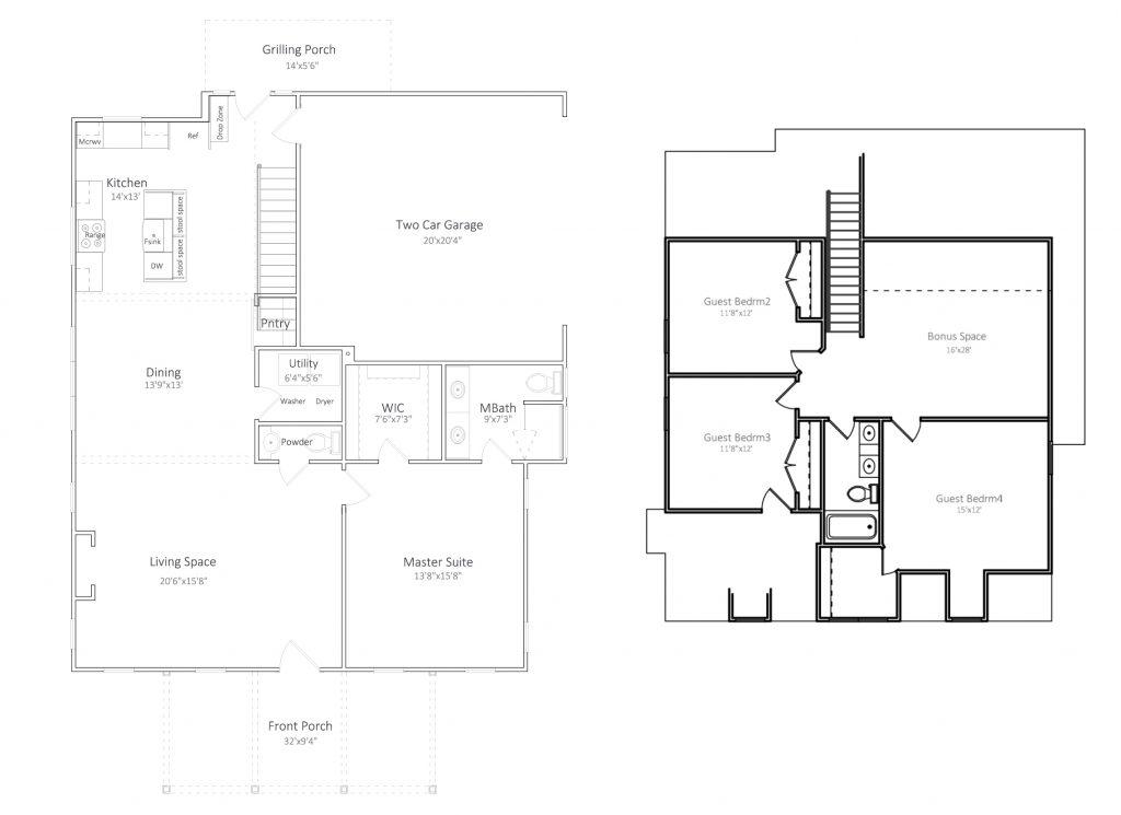 Cottages Floor Plan 1,205sf Main/763sf Upper